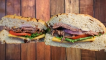 <h5>Roast Beef and Cheddar on Onion Roll </h5>