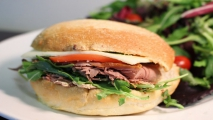 <h5>Roast Beef Panini with Seeded Mustard Spread</h5>